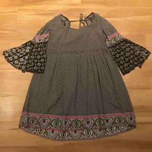 Umgee Black&White Mixed Pattern Tunic